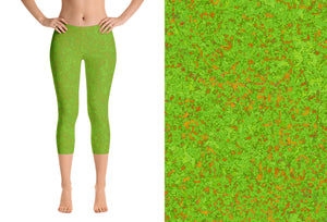 capri leggings - green with bronze - zen style - front view with swatch - ColorUpLife