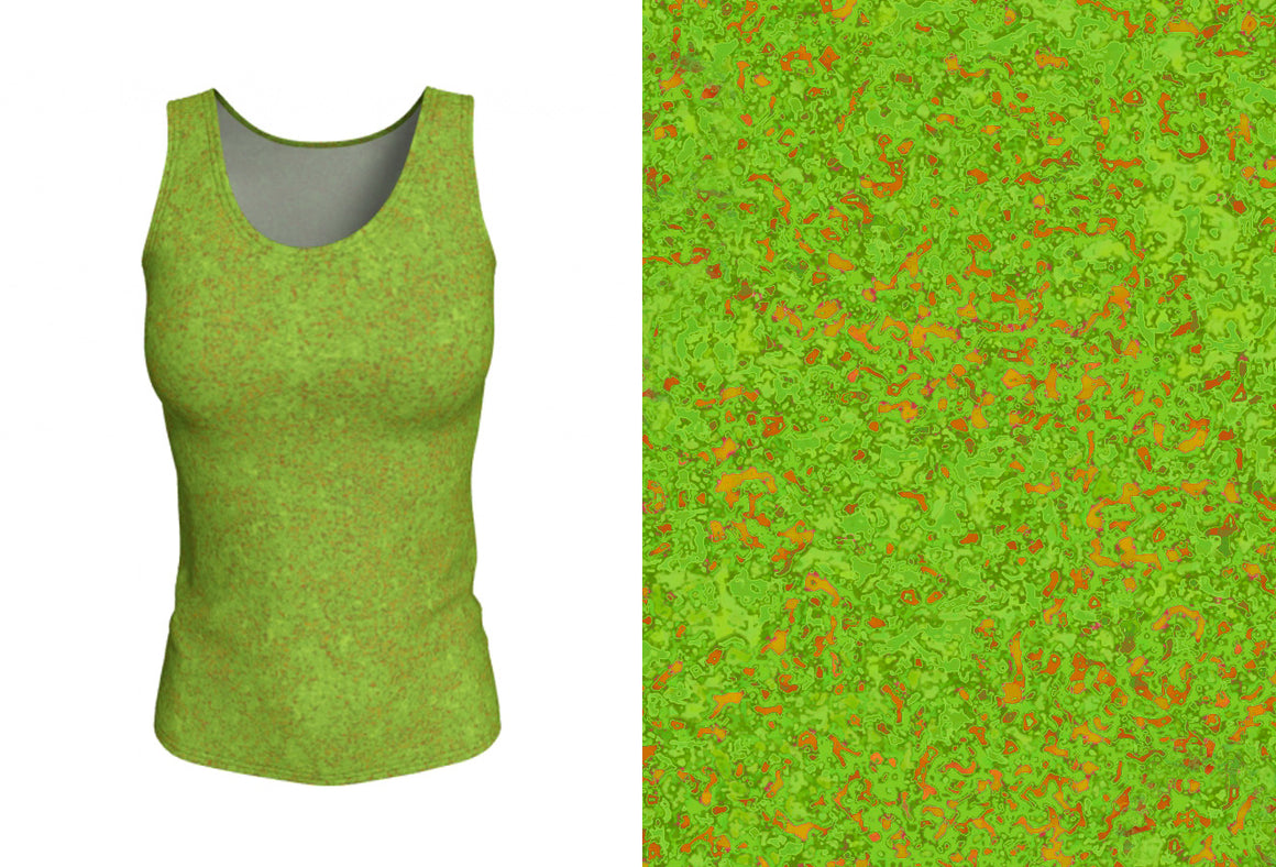 fitted tank - chartreuse with bronze - zen style - front view with swatch - ColorUpLife