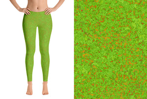 leggings - green with bronze - zen style - front view with swatch – ColorUpLife