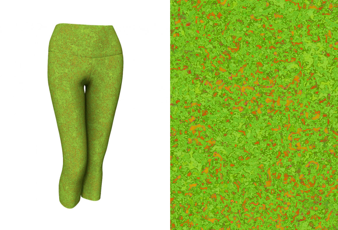 yoga capris - chartreuse with bronze - zen style - front view with swatch - ColorUpLife