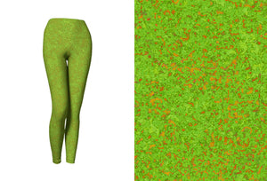 yoga leggings - chartreuse with bronze - zen style - front view with swatch - ColorUpLife