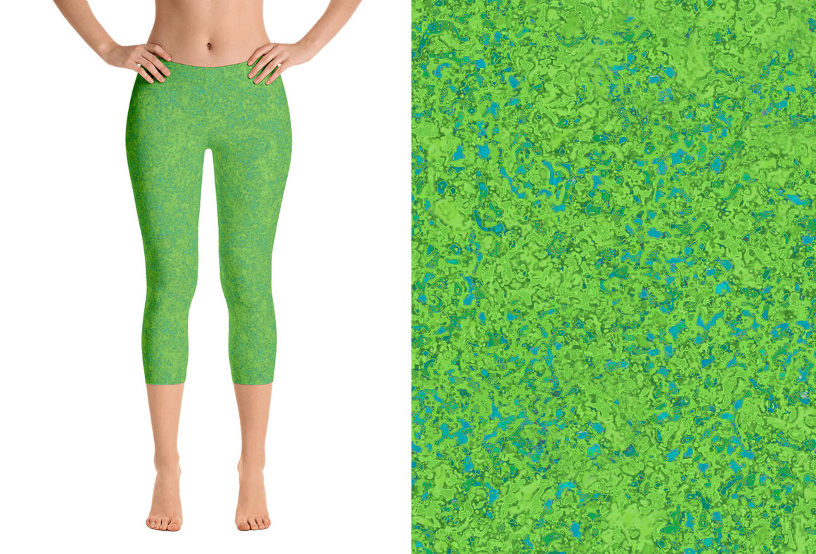 capri leggings - chartreuse with teal - zen style - front view with swatch - ColorUpLife