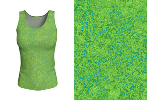 fitted tank - chartreuse with teal - zen style - front view with swatch - ColorUpLife