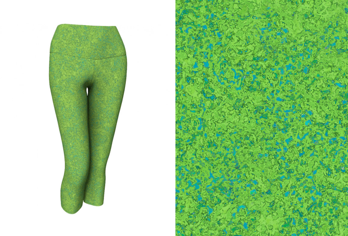yoga capris - chartreuse with teal - zen style - front view with swatch - ColorUpLife