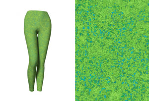 yoga leggings - chartreuse with teal - zen style - front view with swatch - ColorUpLife
