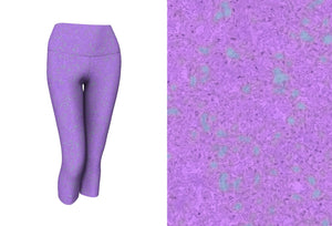 yoga capris - lavender - zen style - front view with swatch - ColorUpLife