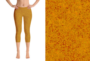 capri leggings - mustard - zen style - front view with swatch - ColorUpLife