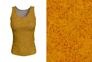 fitted tank - mustard - zen style - front view with swatch - ColorUpLife