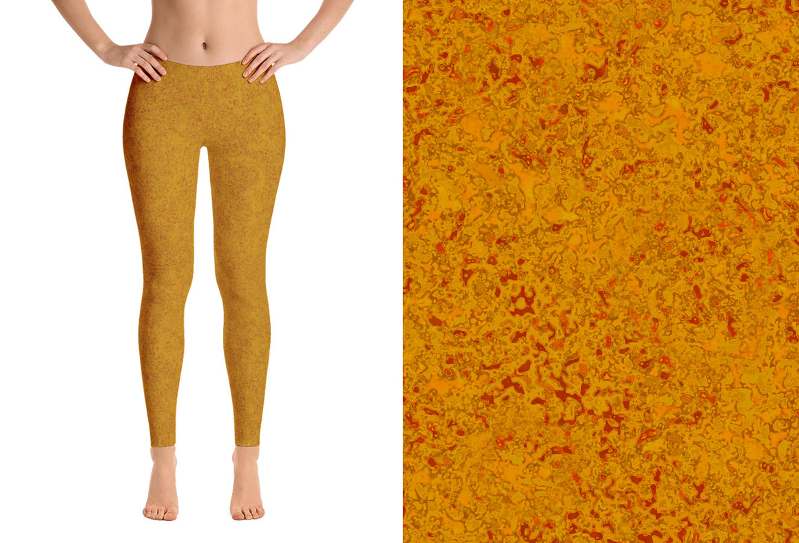 leggings - mustard - zen style - front view with swatch – ColorUpLife