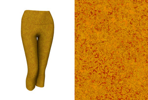 yoga capris - mustard - zen style - front view with swatch - ColorUpLife