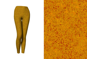 yoga leggings - mustard - zen style - front view with swatch - ColorUpLife