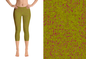 capri leggings - olive - zen style - front view with swatch - ColorUpLife