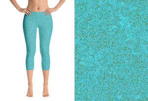 capri leggings - smokey teal - zen style - front view with swatch - ColorUpLife