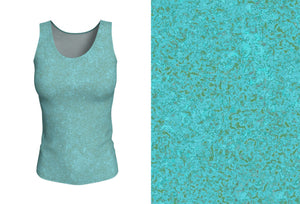 fitted tank - smokey teal - zen style - front view with swatch - ColorUpLife