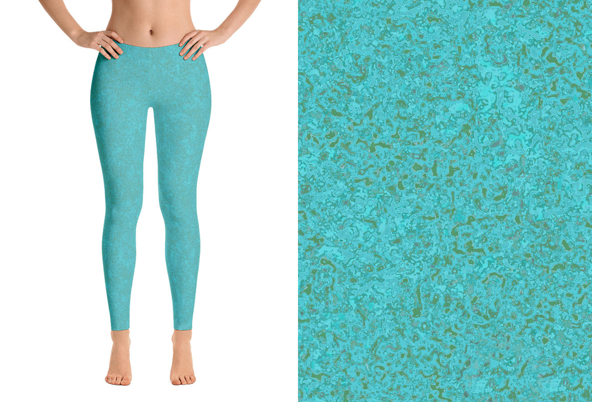 leggings - smoky teal - zen style - front view with swatch – ColorUpLife