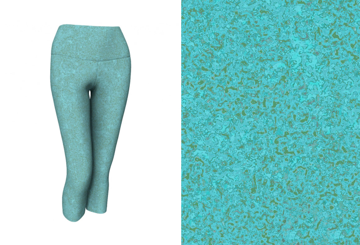 yoga capris - smokey teal - zen style - front view with swatch - ColorUpLife