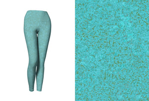 yoga leggings - smokey teal - zen style - front view with swatch - ColorUpLife