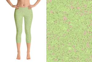 capri leggings - sweet green - zen style - front view with swatch - ColorUpLife