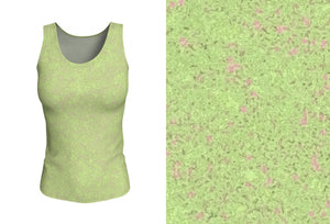 fitted tank - green- zen style - front view with swatch - ColorUpLife