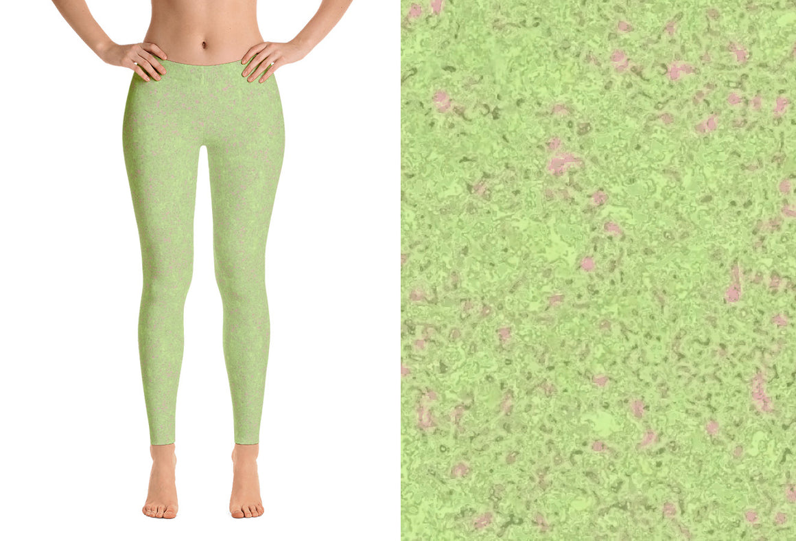leggings - sweet green - reef style - front view with swatch – ColorUpLifezen