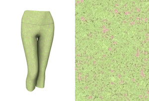 yoga capris - sweet green - zen style - front view with swatch - ColorUpLife