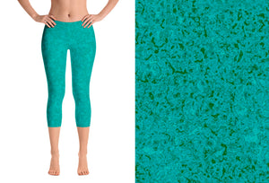 capri leggings - teal - zen style - front view with swatch - ColorUpLife