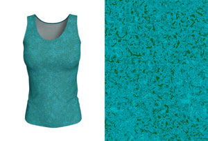 fitted tank - teal - zen style - front view with swatch - ColorUpLife