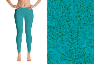 leggings - teal - zen style - front view with swatch – ColorUpLife