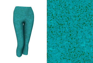 yoga capris - teal - zen style - front view with swatch - ColorUpLife