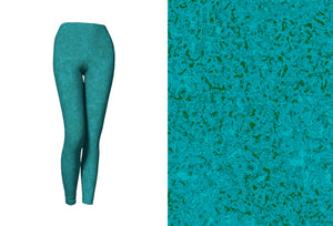 yoga leggings - teal - zen style - front view with swatch - ColorUpLife