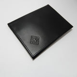 Passport Holder Wallet made of Leather. Handmade in black leather with gray lining.