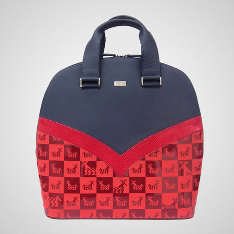 Handmade leather handbag, made in mexico by independent designer, red and navy blue