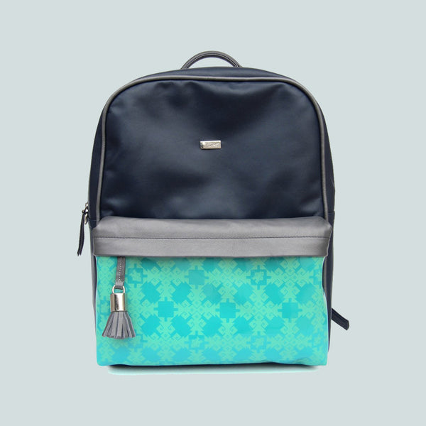 Handmade Leather Backpack Navy Blue, Laptop