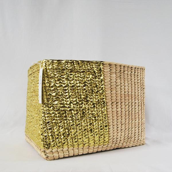 Rectangular Golden Basket Handmade, Boho Chic Decor