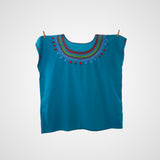 Blouse Mexican Handmade in Turquoise 100% cotton embroidery handmade