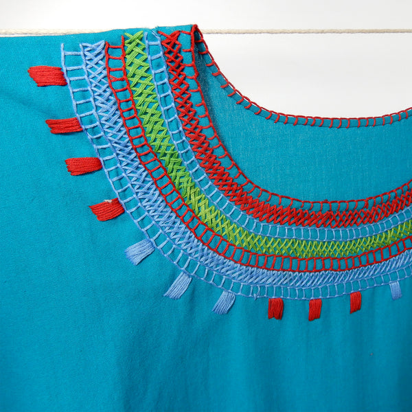 zoomed to detail Blouse Mexican Handmade in Turquoise 100% cotton embroidery handmade