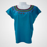 Shape Blouse Mexican Handmade in Turquoise 100% cotton embroidery handmade