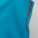 Sleeve detail Blouse Mexican Handmade in Turquoise 100% cotton embroidery handmade