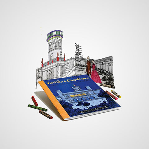 This coloring book gives you more than pictures to paint, you can learn and have fund while taking a tour to the Castillo of Chapultepec in Mexico City.