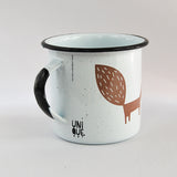Big Mug Enamel Fox Design 16 oz