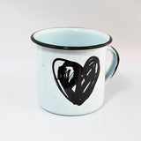 Big Enamel Mug Heart Drawing Design