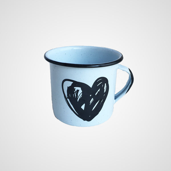 Enamel Heart Big Mug for Coffee or Tea