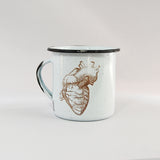 Big Mug Enamel Human Heart Design 16 oz