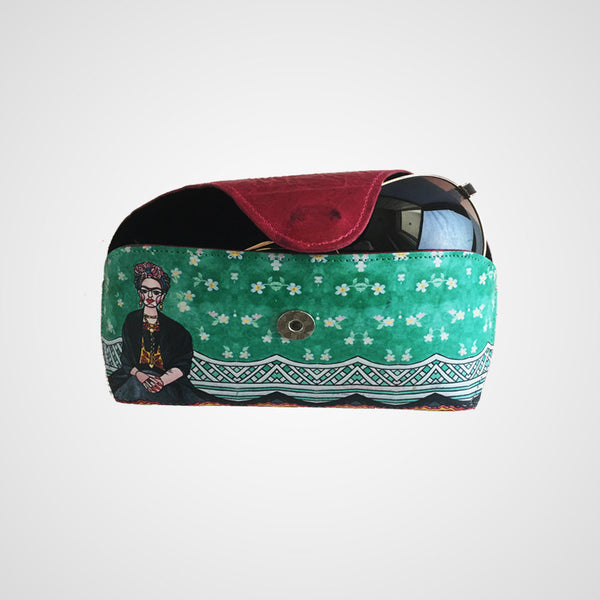 Eyewear leather case - Frida Kahlo design, women accessories, leather made in Mexico