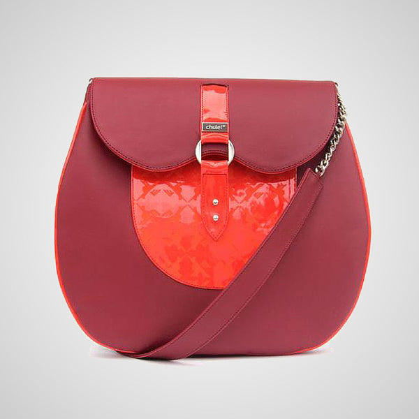 Handmade leather handbag, made in mexico by independent designer, red and coral