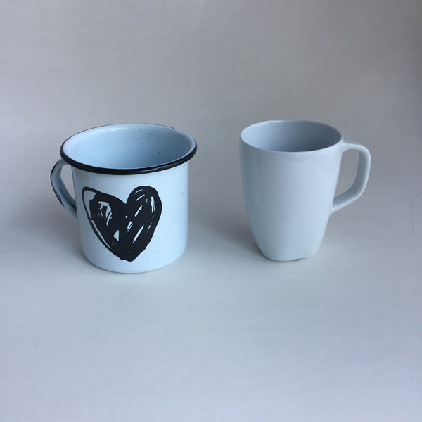 Enamel Heart Big Mug for Coffee or Tea, bigger than regular mug