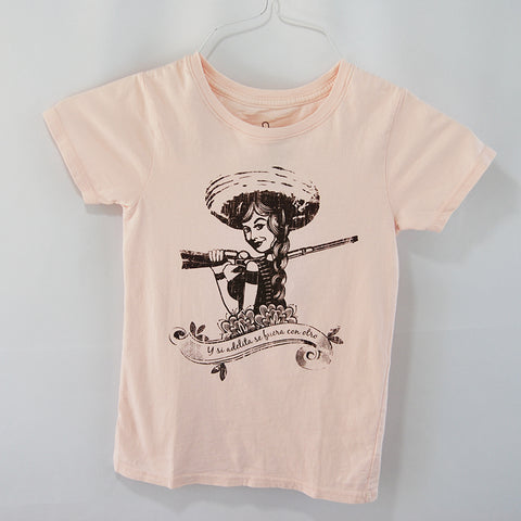 T-Shirt Adelita Pink U Neck for Kids, Mexican women in the Revolution era.Pink washed color printed in dark brown tone.  Proudly design and made in Mexico by TQMX Artists.