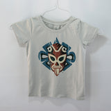 T-Shirt Jaguar Luchador Gray U Neck for Kids,  Jaguar who represents the God of War & Sun, Day & Night and Light & Dark all are considered Symbols of Braveness and Power and merged a fusion of legendary warriors.100% cotton, light gray