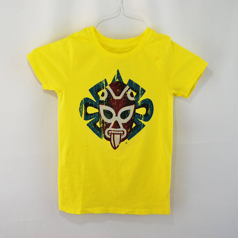 T-Shirt Jaguar Luchador Black U Neck for Kids, bright yellow color, 100% cotton