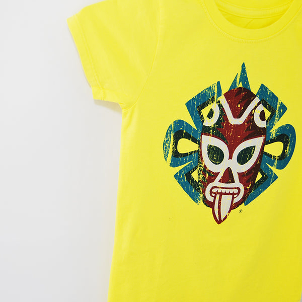 Close up to image of T-Shirt Jaguar Luchador Black U Neck for Kids, bright yellow color, 100% cotton